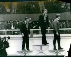 Guy Périllat and Jean-Claude Killy during the awarding ceremony of the Alpine skiing at the 1968 Winter Olympics in Grenoble, France.