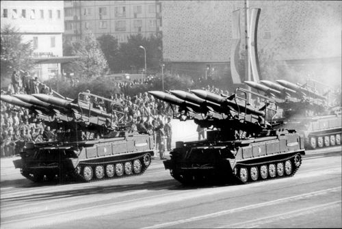 Soviet rocket and robot weapon.