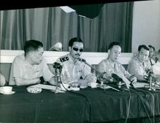 Nguyễn Cao Kỳ giving speech with other military personnel.