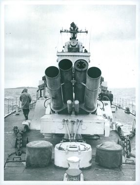 On board the destroyer HMS Småland J19 viewed from the front