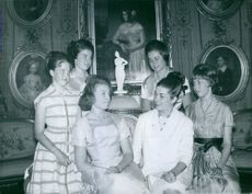 The six daughters of Henri of Orléans, Count of Paris: Princess Chantal, Anne, Diane, Isabelle, Helene and Claude in 1960.