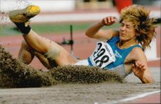 Goodwill Games. Larisa Turchinskaya from Russia lands in the long jump in the 7th match