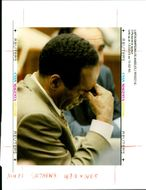 Defendant O.J Simpson rubs his eyes during the late afternoon court session in his murder trial.