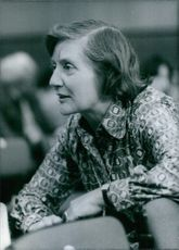 Side view of Mrs. Shirley Williams, M.P., 1977.
