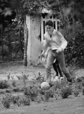 Jacques Charrier playing football.