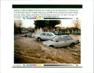 The 1994 Northridge earthquake USA:water from a broken main flows down.