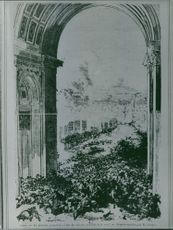 An illustration of people gathered in Triumphal Arch.