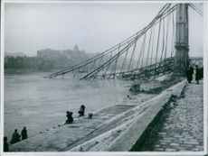 Bridge broken and fell in the river in Budapest, Hungary during World War II, 1946.