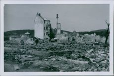War damages in Steinkjer after the German bombing. 1940