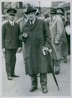 Mr. Stanley Baldwin at Victoria Station, on arrival. 1931.