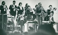 American jazz musician Woody Herman celebrates his 40th anniversary with a concert at Carnegie Hall.