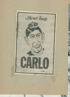 Caricature of Prince Charles of Wales at school start at Trinity College.