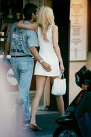 The model Karen Mulder with boyfriend Jean-Yves Le Fur