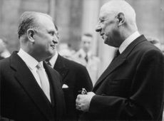 Charles de Gaulle talking with a man, 1963.