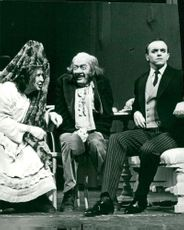 "Birgitta Valberg, Ernst-Hugo Järegård and Jan-Olof Strandberg in the ""Vigseln"" on the dramatic stage of the drama"