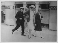 Winston Churchill, Lady Stanley, Duchess of Sutherland, Lady Betty Butler photographed at Deauville, France, during the August of 1927.