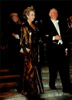 Princess Christina is escorted by Nobel laureate Dario Fo at the Nobel dinner in City Hall