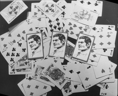 Playing cards with drawing of Omar Sharif.