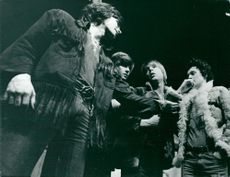"Peter Luckhaus, Hans Klinga, Olof Willgren and Jan Jönsson in ""Centan next"" at Dramaten"