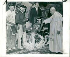 Pope John XXIII with apache indian youth.