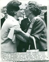 Queen Anne-Marie of Greece embraces her mother Queen Ingrid of Denmark at Frankfurt Airport