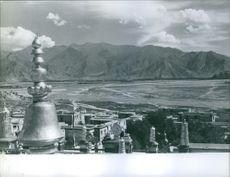 View of temples and mountain.