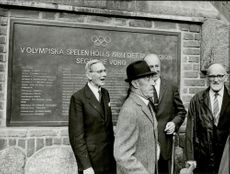 Representatives of various sports gathered in front of the memory plate at the Stockholm Stadium.