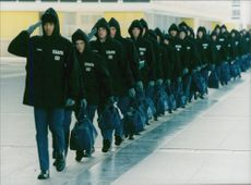 Cadets march at the US Air Force Academy