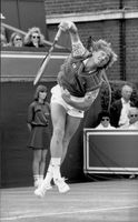 Boris Becker in a match against Stefan Edberg on Queens.