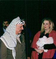 Yassir Arafat with his wife Suha and daughter Zahwa before departing from Washington to Casablanca