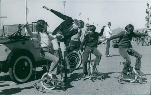 People using unicycle. April 14, 1970