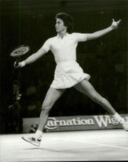 Virginia Wade in action against Chris Evert in the Wightman Cup
