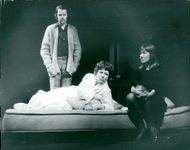 Sven Wollter, Doris Svedlund and Kerstin Tidelius in Harold Pinter's