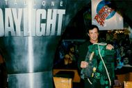 """Sylvester Stallone delivers his costume from the movie """"Daylight"""" to Planet Hollywood in Paris"""