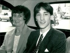 Mrs Jean Davies and her son.