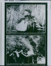 View of a wounded soldier in the first photograph and in the other one cooperative natives carrying wounded on a makeshift soldier.