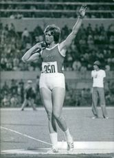 Marianne Adam in action during the competition, 1976.