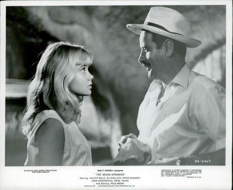 """Actors Hayley Mills and Eli Wallach in the movie """"Night Without Moon"""""""