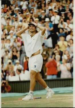 American tennis player Andre Agassi during Wimbledon 1992