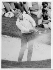 Portrait of golfer Howard Clark in action