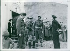 Soldiers having a conversation. 1941.