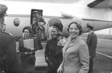 Princess Irene with her eldest sister Princess Beatrix of the Netherlands got off the plane in Paris.