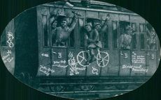 World War I 1914-1918 An illustration of German soldiers inside the train cheering 1914