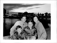 Ken Rosewall with family in Stockholm