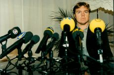 Tomas Brolin at a press conference