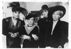 """Married to the Mafia"" film characters, O-Lan Jones, Joan Cusack, Ellen Foley and Mercedes Ruehl showing facial expression."