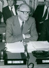 Lord Carrington as the Chairman of the Zimbabwe-Rhodesia Constitutional Conference.