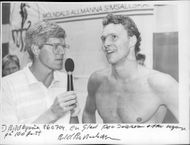 The swimmer Per Johansson is interviewed after his victory at 100m free