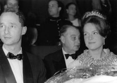 Princess Irene and Carlos Hugo in a gathering, smiling, 1964.