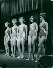 Female candidates in their swimwear. 1965.